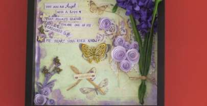 Mixed Media – Flowers and Butterflies Shadow box