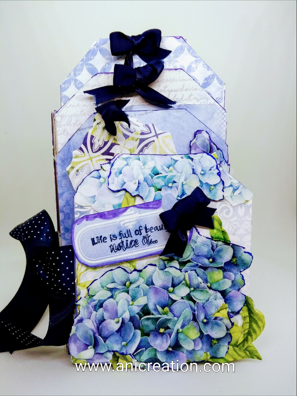 Mini Tag Album using Dress My Craft Hydrangea lawns