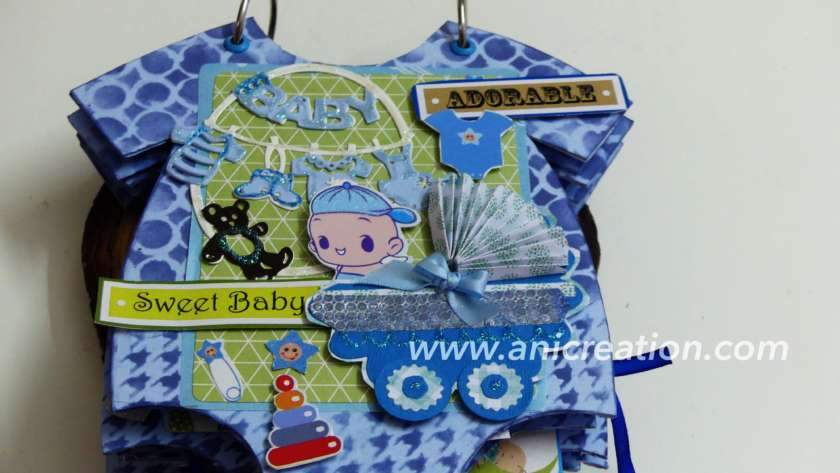 Baby Boy Scrapbook Album in Onesie pattern
